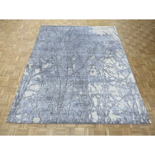 Hand Knotted Sky Blue Modern with 100% Wool Oriental Rug (7'11 x 9'11)