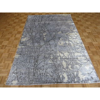 Hand Knotted Sky Blue Modern with 100% Wool Oriental Rug (6 x 9)