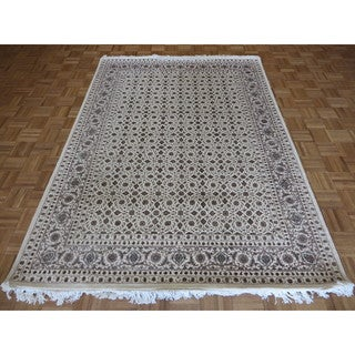 Hand Knotted Ivory Herati Tabriz with Silk Blend Oriental Rug - 5' x 8'