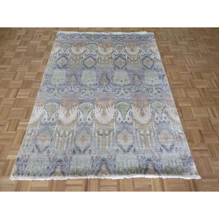 Hand Knotted Blue Ikat with Wool Oriental Rug (5'7 x 7'7)