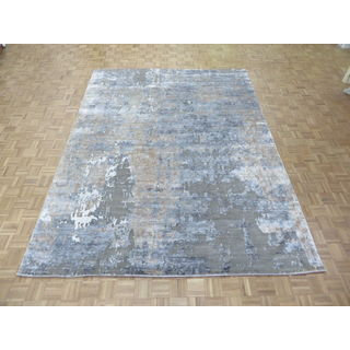 Hand Knotted Grey Modern with Viscose from Bamboo Oriental Rug (9 x 12'1)