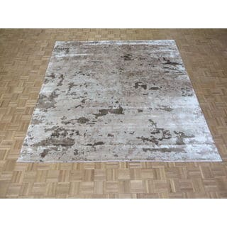 Hand Knotted Beige Bamboo Rug (9 x 9'3)