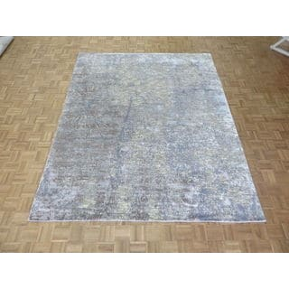 Hand Knotted Multi Colored Modern with Wool & Silk Oriental Rug (8 x 9'11)