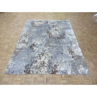 Hand Knotted Sky Blue Modern with Wool & Silk Oriental Rug (7'10 x 10'3)