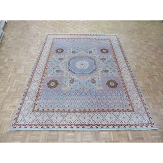 Hand Knotted Sky Blue Mamluk with Wool Oriental Rug (8'11 x 11'9)