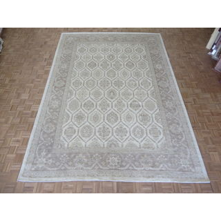 Hand Knotted Ivory Peshawar with Wool Oriental Rug (9'11 x 13'10)