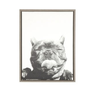DesignOvation 'Sylvie Licking Dog' Black and White Portrait Canvas Wall Art with Grey Frame