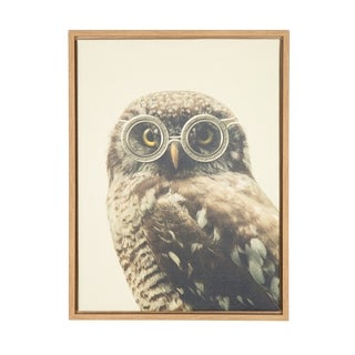 DesignOvation F2 Images 'Sylvie Owl Wearing Glasses Portrait' Natural Framed Canvas Wall Art