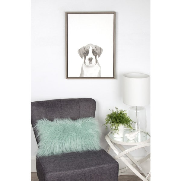 DesignOvation Simon Te Tai 'Sylvie Boxer Puppy' Black/White Framed Canvas Wall Art