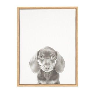 DesignOvation Sylvie Dachshund Puppy Black and White Portrait Wall Art