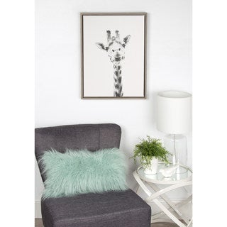 DesignOvation Simon Te Tai 'Sylvie Giraffe' Black and White Grey Framed Canvas Wall Art