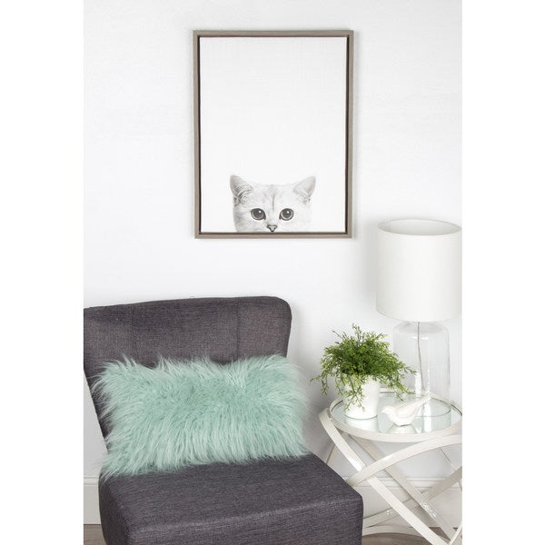 Simon Te Tai DesignOvation 'Sylvie Kitty' Canvas Wall Art with Grey Frame
