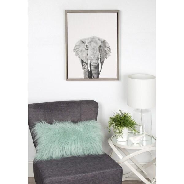 Simon Te Tai DesignOvation 'Sylvie Elephant' Canvas Wall Art with Grey Frame