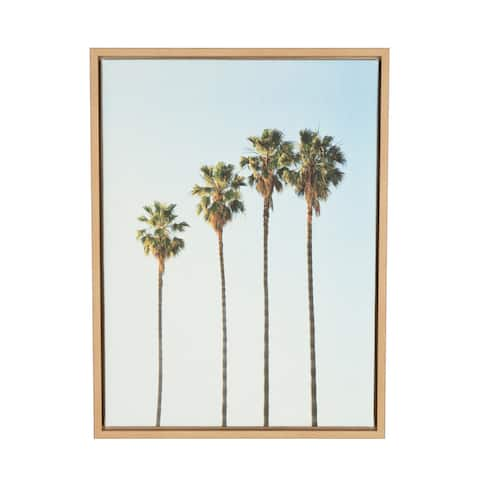 Kate and Laurel Sylvie Four Palm Trees Framed Canvas Wall Art by Simon Te Tai, 18x24 Natural