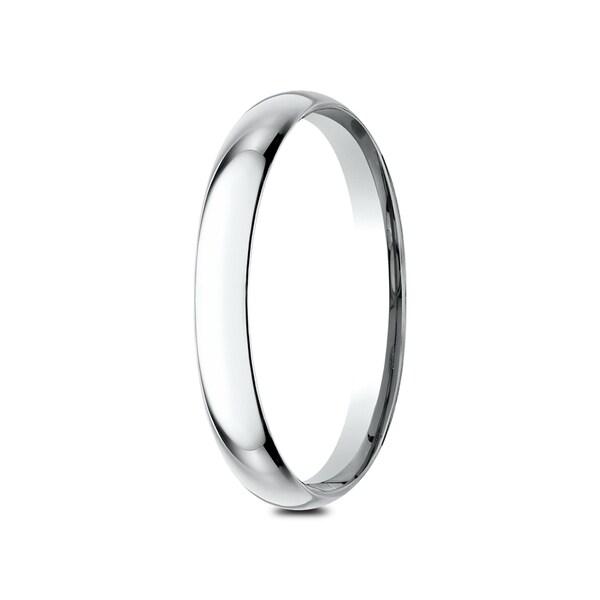 Mens 14K White Gold 2mm Edged Half Round Wedding Band Ring