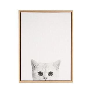 DesignOvation Simon Te Tai 'Sylvie Kitty Black and White Portrait' Framed Canvas Wall Art