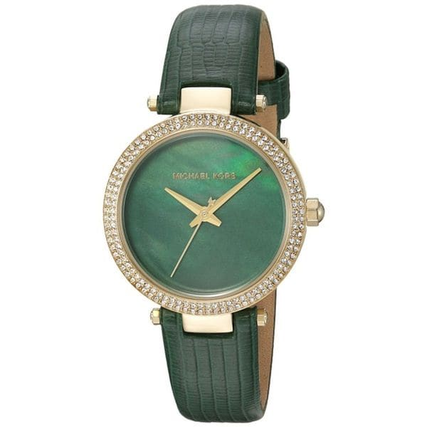 cddc248e30b9 Shop Michael Kors Women s MK2592  Parker Mini  Crystal Green Leather Watch  - Free Shipping Today - Overstock - 14219059