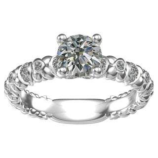 Sterling-silver 1-ct Round Center 26 0.19-tcw Side Cubic Zirconia Classic Engagement Ring