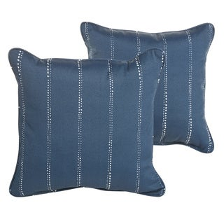 Perry Navy Dotted Stripes Indoor/ Outdoor 18 inch Corded Pillow Set