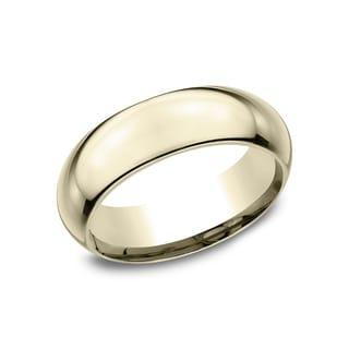 18k Yellow Gold Men's 7 mm Comfort-Fit Inside Comfort Fit Wedding Band