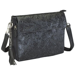 Gun Toten Mamas Tooled Cowhide Handbag Black