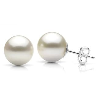 DaVonna Sterling Silver 12mm White Round Shell Pearl Stud Earrings