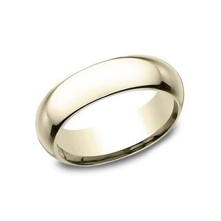18k Yellow Gold Men's 6 mm High Polish Finish Comfort Fit Wedding Band - 18K Yellow Gold