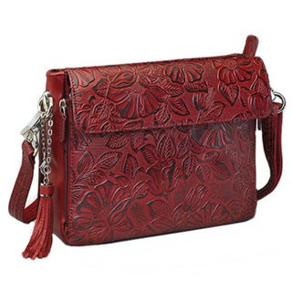 Gun Toten Mamas Tooled Cowhide Handbag Black Cherry