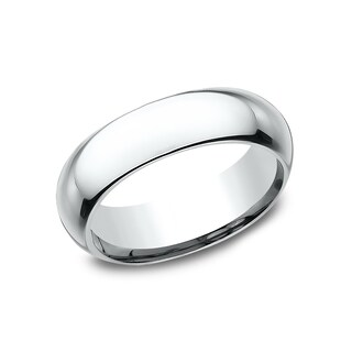 Ladies 6mm 18K White Gold High Domed Comfort-Fit Wedding Band - 18K White Gold