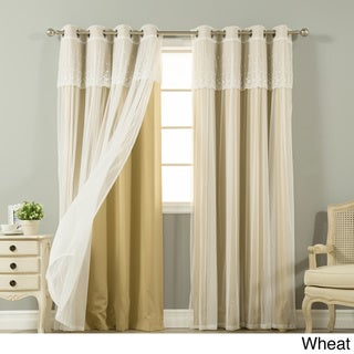 Aurora Home Tulle Sheer with Attached Valance and Amp Solid Blackout Curtain Panel Pair