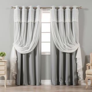Link to Aurora Home Attached Valance Sheer and Blackout 4-piece Panel Pair Similar Items in Curtains & Drapes