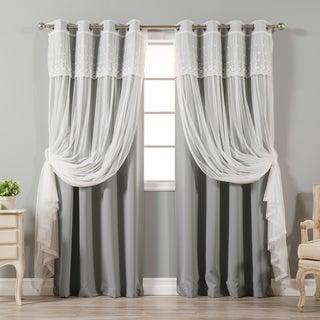 Aurora Home Attached Valance Sheer and Blackout 4-piece Panel Pair