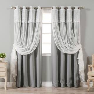 Aurora Home Mix & Match Tulle Sheer with Attached Valance and Blackout 4-piece Curtain Panel Pair