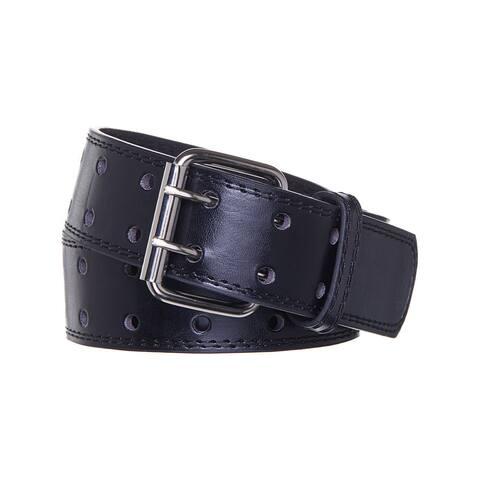 Men's Double Prong Black Leather Belt
