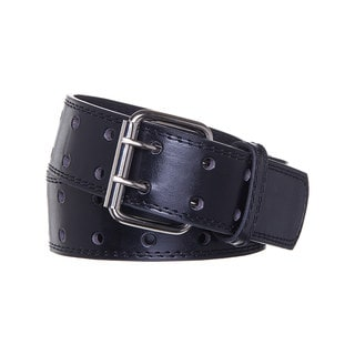 Men's Double Prong Black Leather Belt
