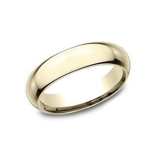 Men's 5mm 18k Yellow Gold Domed Comfort Wedding Band