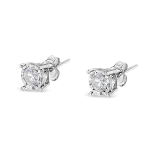 Sterling Silver .50 ctw Round-Cut Diamond Stud Earrings (H-I, I2-I3)