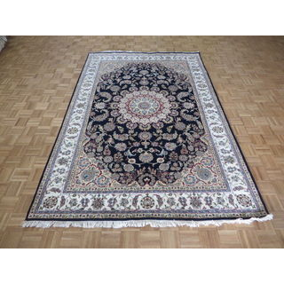 Hand-knotted Navy Blue Nain with Wool and Silk Oriental Rug - 6'7 x 10
