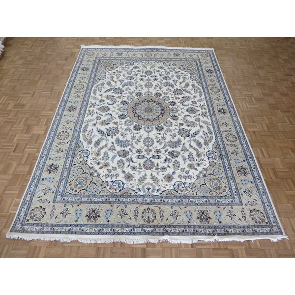 Persian Hand Knotted Nain Wool And Silk Area Rug Ebth: Shop Hand Knotted Ivory Nain With Wool & Silk Oriental Rug
