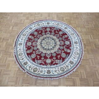 Hand Knotted Red Nain Wool & Silk Oriental Rug (6' x 6')