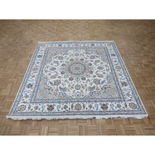 Hand Knotted Ivory Nain with Wool & Silk Oriental Rug (7'11 x 8'2)