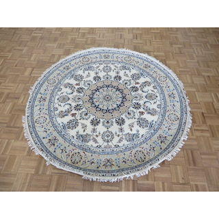 Hand Knotted Ivory Nain with Wool & Silk Oriental Rug (6'1 x 6'1)
