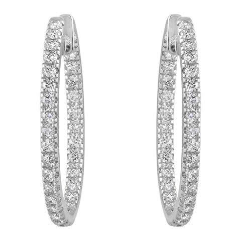 10k White Gold 1ct TDW Diamond Inside out Oval Hoop Earrings by Beverly Hills Charm