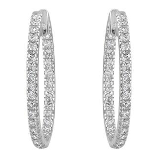 10k White Gold 1ct TDW Diamonds Inside-out Oval Hoop Earrings