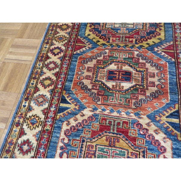 Blue Super Kazak With Wool Oriental Rug