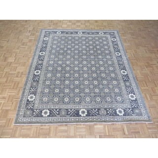 Hand Knotted Grey Peshawar with Wool Oriental Rug (8 x 9'6)
