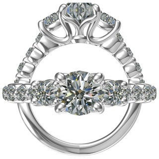 SS/CZ Classic Engagement RING 1 CT RD CTR WITH 10=0.64CTW SIDE CZ