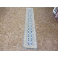 Hand Knotted Blue Peshawar with Wool Oriental Rug - 2'6 x 13'4
