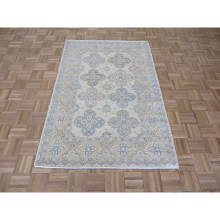 Hand Knotted Ivory Peshawar with Wool Oriental Rug (4 x 5'11)