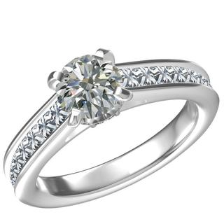 SS/CZ RING 1 CT RD CTR WITH 14 PC and 8 RD CZ=0.84 CTW